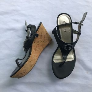 Guess Womens Black Cork Wedges Sandals Size 7.5